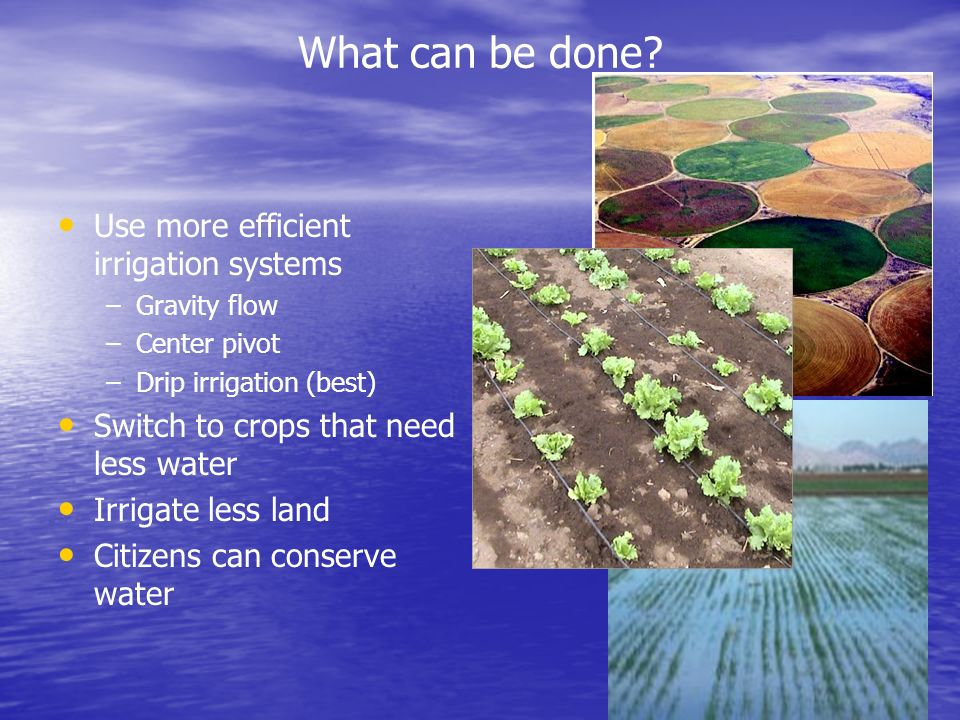 What can be done? Use more efficient irrigation systems – –Gravity flow – –Center pivot – –Drip irrigation (best) Switch to crops that need less water