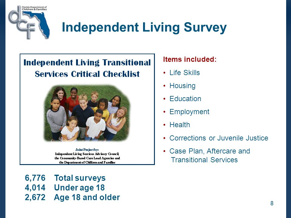 8 Independent Living Survey Items included: Life Skills Housing Education Employment Health Corrections or Juvenile Justice Case Plan, Aftercare and Transitional Services 6,776Total surveys 4,014Under age 18 2,672 Age 18 and older