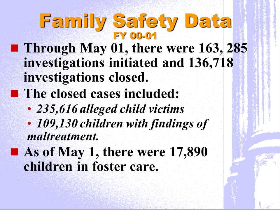 Family Safety Data FY 00-01 Through May 01, there were 163, 285 investigations initiated and 136,718 investigations closed.