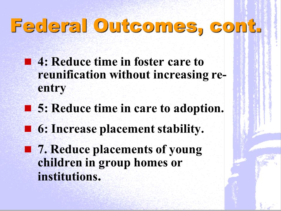Federal Outcomes, cont.