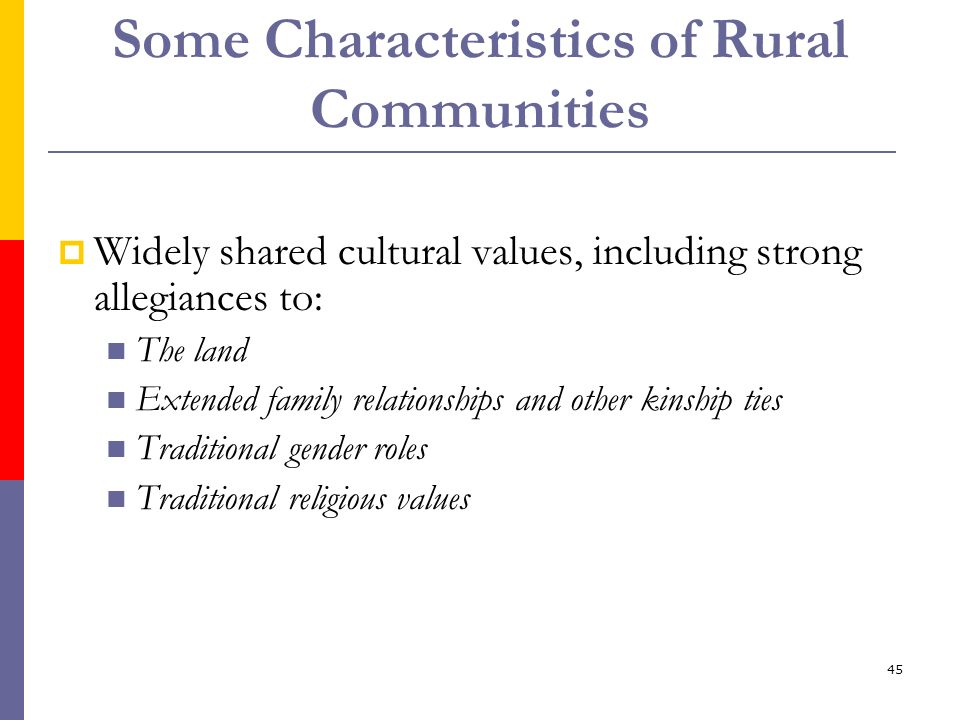 45 Some Characteristics of Rural Communities Widely shared cultural values, including strong allegiances to: The land Extended family relationships an