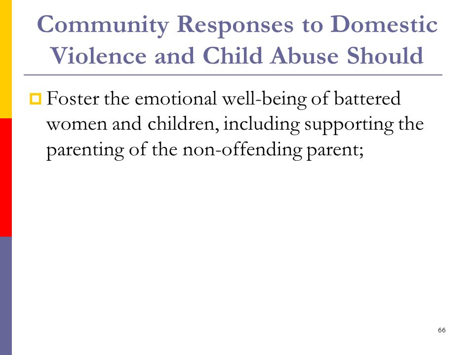 66 Community Responses to Domestic Violence and Child Abuse Should Foster the emotional well-being of battered women and children, including supportin