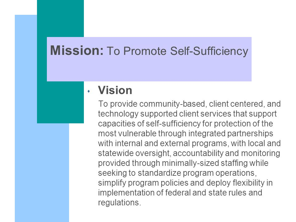 Mission: To Promote Self-Sufficiency s Vision To provide community-based, client centered, and technology supported client services that support capacities of self-sufficiency for protection of the most vulnerable through integrated partnerships with internal and external programs, with local and statewide oversight, accountability and monitoring provided through minimally-sized staffing while seeking to standardize program operations, simplify program policies and deploy flexibility in implementation of federal and state rules and regulations.