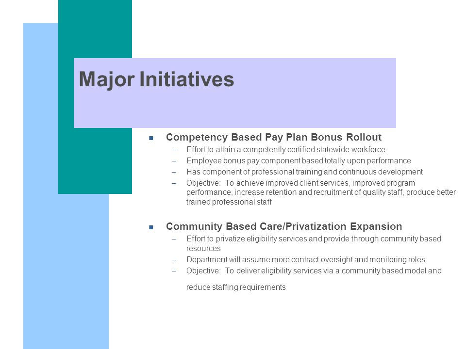 Major Initiatives n Competency Based Pay Plan Bonus Rollout –Effort to attain a competently certified statewide workforce –Employee bonus pay component based totally upon performance –Has component of professional training and continuous development –Objective: To achieve improved client services, improved program performance, increase retention and recruitment of quality staff, produce better trained professional staff n Community Based Care/Privatization Expansion –Effort to privatize eligibility services and provide through community based resources –Department will assume more contract oversight and monitoring roles –Objective: To deliver eligibility services via a community based model and reduce staffing requirements