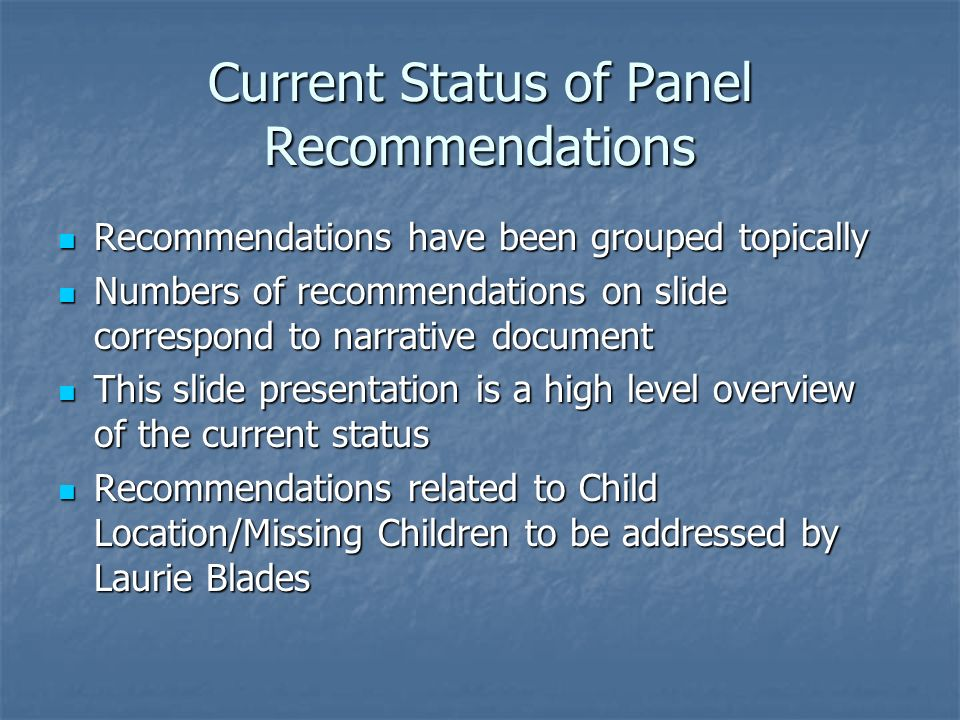 Child Safety: Contact with Children Recommendations 3, 13 Recommendations 3, 13 High priority performance measure High priority performance measure At least every 30 days requirement At least every 30 days requirement Reporting and tracking capacity in former and current computer system Reporting and tracking capacity in former and current computer system Emphasis on qualitative aspects of contact for Release 2, Florida Safe Families Network Emphasis on qualitative aspects of contact for Release 2, Florida Safe Families Network