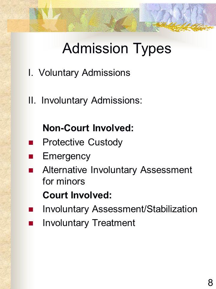 8 Admission Types I. Voluntary Admissions II. Involuntary Admissions: Non-Court Involved: Protective Custody Emergency Alternative Involuntary Assessm