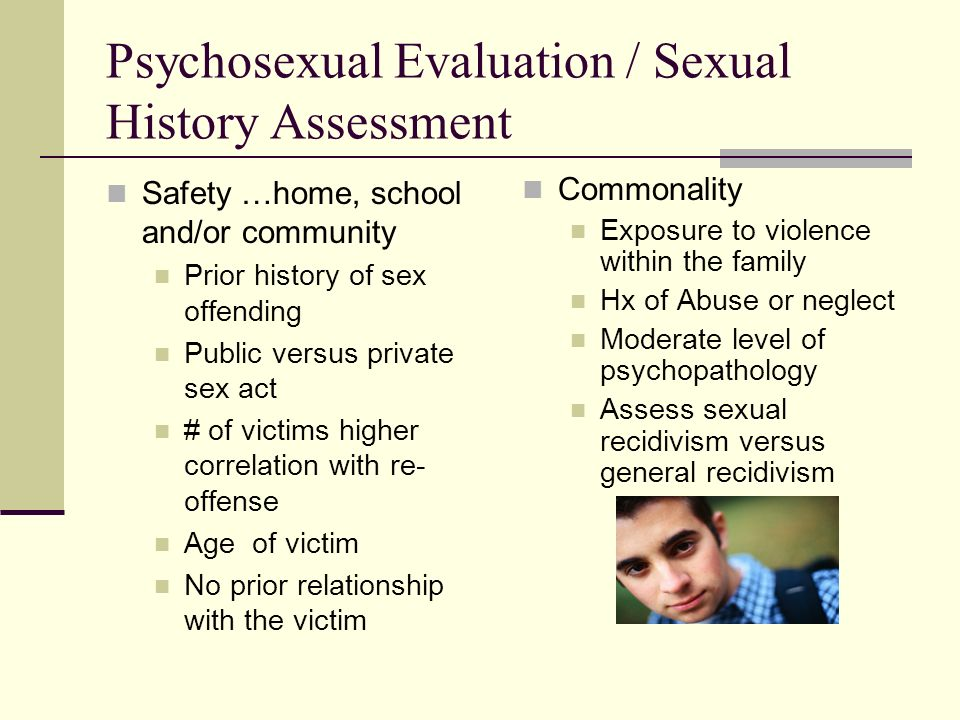 Psychosexual Evaluation / Sexual History Assessment Safety …home, school and/or community Prior history of sex offending Public versus private sex act
