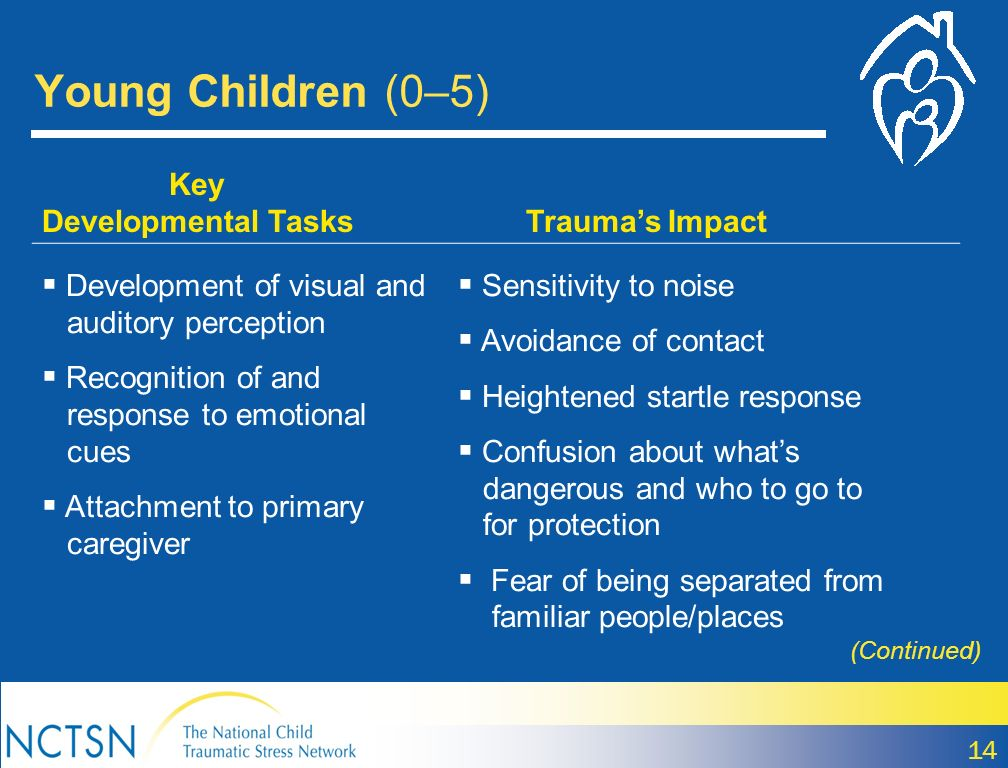 Young Children (0–5) 14 Key Developmental Tasks Traumas Impact Development of visual and auditory perception Recognition of and response to emotional cues Attachment to primary caregiver Sensitivity to noise Avoidance of contact Heightened startle response Confusion about whats dangerous and who to go to for protection Fear of being separated from familiar people/places (Continued)