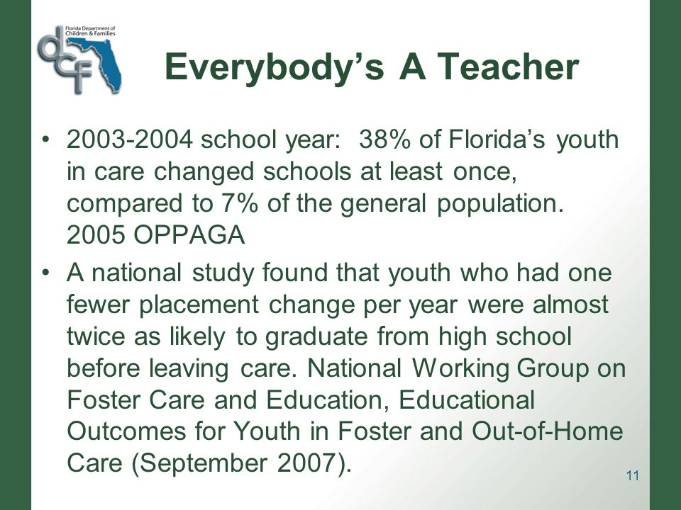 Everybodys A Teacher 2003-2004 school year: 38% of Floridas youth in care changed schools at least once, compared to 7% of the general population.