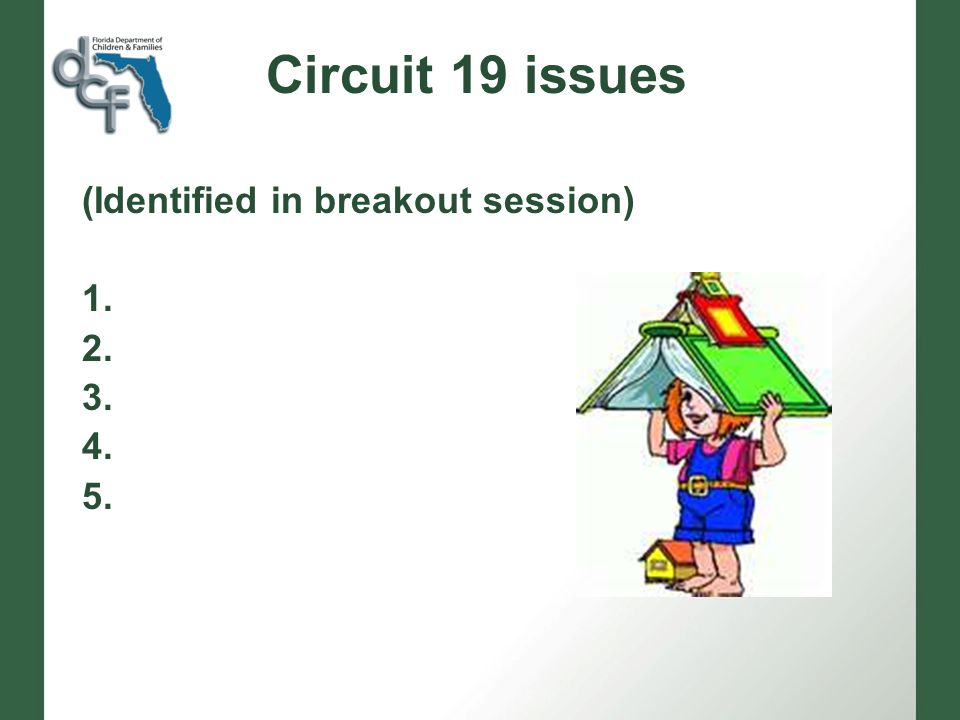 Circuit 19 issues (Identified in breakout session) 1. 2. 3. 4. 5.