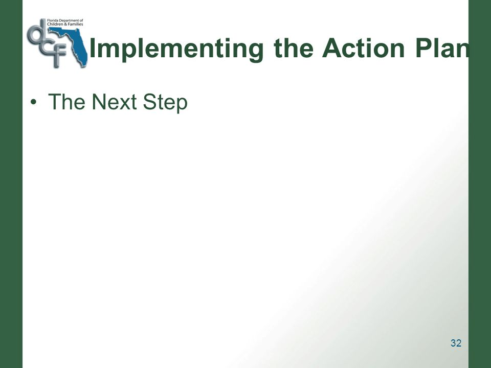 Implementing the Action Plan The Next Step 32