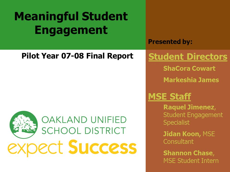 Raquel Jimenez, Student Engagement Specialist Jidan Koon, MSE Consultant Shannon Chase, MSE Student Intern MSE Staff Meaningful Student Engagement Pil