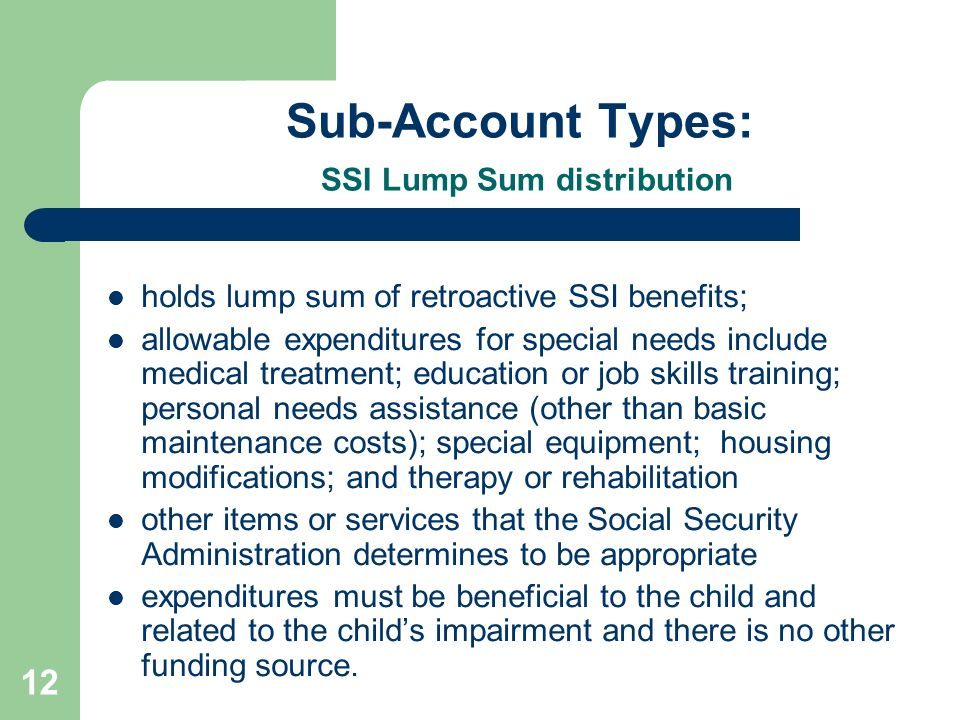 12 Sub-Account Types: SSI Lump Sum distribution holds lump sum of retroactive SSI benefits; allowable expenditures for special needs include medical t