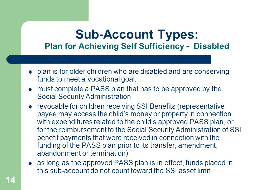14 Sub-Account Types: Plan for Achieving Self Sufficiency - Disabled plan is for older children who are disabled and are conserving funds to meet a vo