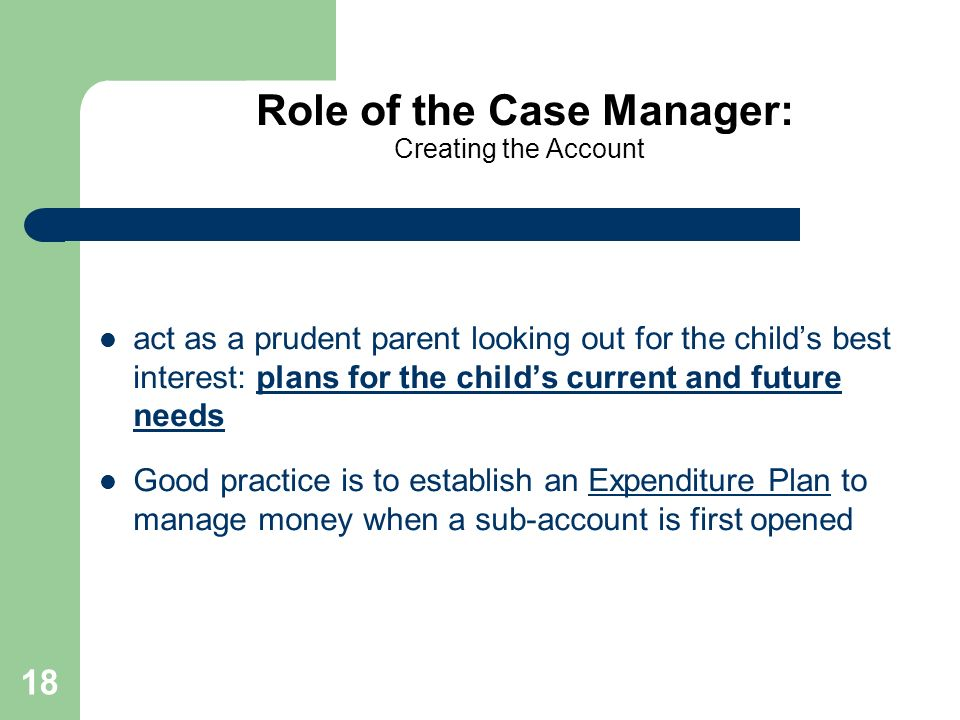 18 Role of the Case Manager: Creating the Account act as a prudent parent looking out for the childs best interest: plans for the childs current and f