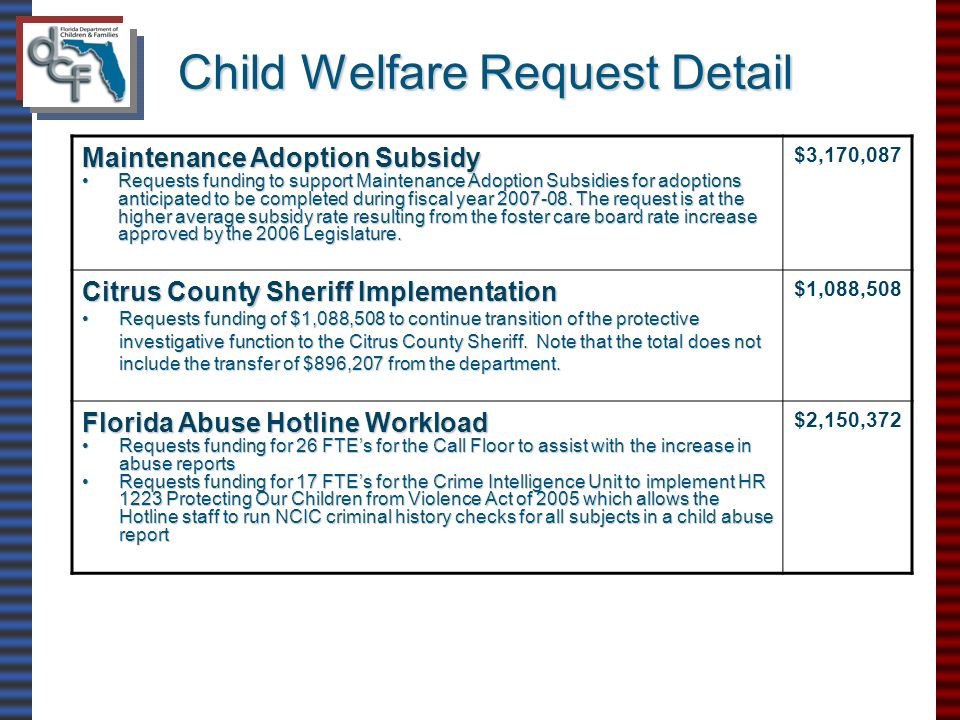Child Welfare Request Detail Maintenance Adoption Subsidy Requests funding to support Maintenance Adoption Subsidies for adoptions anticipated to be completed during fiscal year 2007-08.