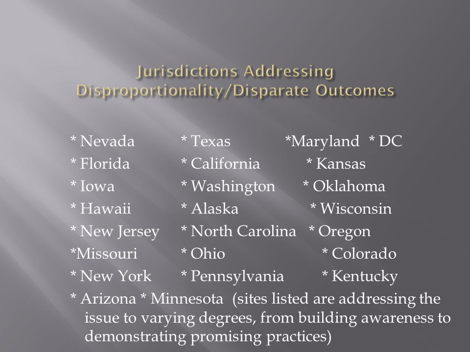* Nevada* Texas *Maryland* DC * Florida* California * Kansas * Iowa* Washington * Oklahoma * Hawaii* Alaska * Wisconsin * New Jersey* North Carolina * Oregon *Missouri* Ohio* Colorado * New York* Pennsylvania* Kentucky * Arizona * Minnesota (sites listed are addressing the issue to varying degrees, from building awareness to demonstrating promising practices)