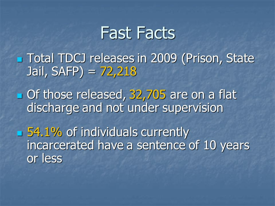 Fast Facts Total TDCJ releases in 2009 (Prison, State Jail, SAFP) = 72,218 Total TDCJ releases in 2009 (Prison, State Jail, SAFP) = 72,218 Of those re