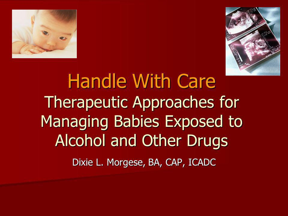 Handle With Care Therapeutic Approaches for Managing Babies Exposed to Alcohol and Other Drugs Dixie L. Morgese, BA, CAP, ICADC