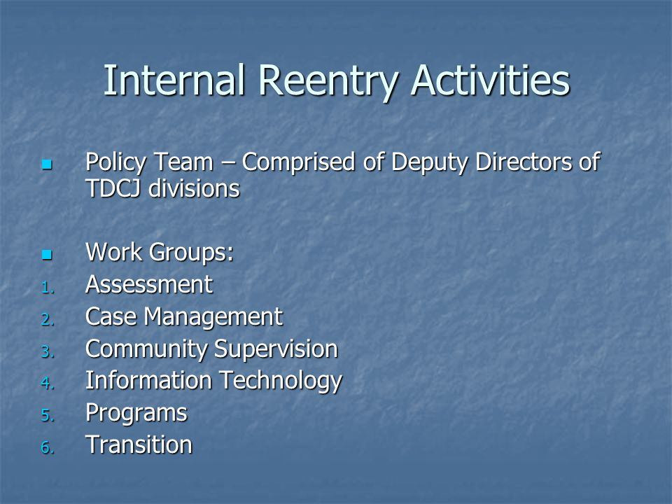 Internal Reentry Activities Policy Team – Comprised of Deputy Directors of TDCJ divisions Policy Team – Comprised of Deputy Directors of TDCJ divisions Work Groups: Work Groups: 1.