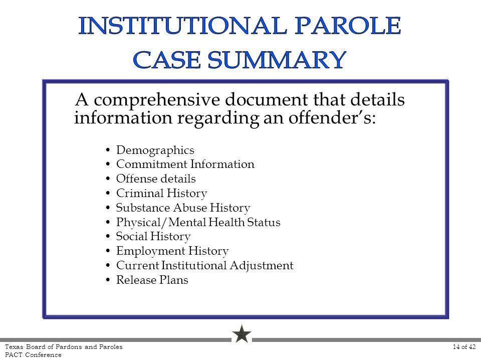A comprehensive document that details information regarding an offenders: Demographics Commitment Information Offense details Criminal History Substan