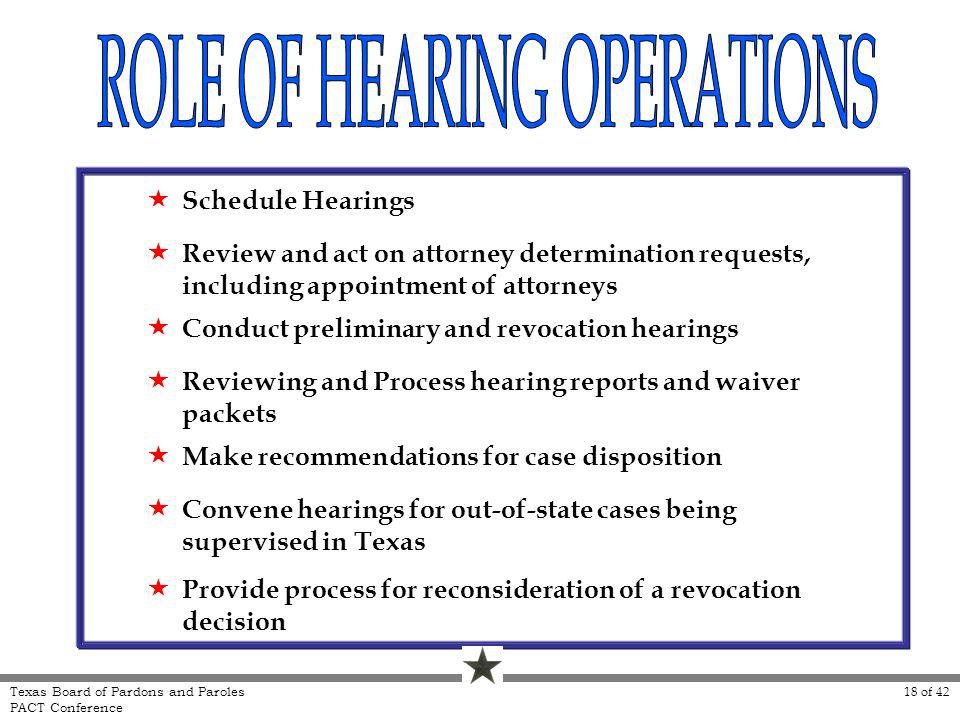 Schedule Hearings Review and act on attorney determination requests, including appointment of attorneys Conduct preliminary and revocation hearings Reviewing and Process hearing reports and waiver packets Make recommendations for case disposition Convene hearings for out-of-state cases being supervised in Texas Provide process for reconsideration of a revocation decision 18 of 42 Texas Board of Pardons and Paroles PACT Conference