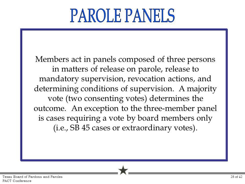 Members act in panels composed of three persons in matters of release on parole, release to mandatory supervision, revocation actions, and determining conditions of supervision.