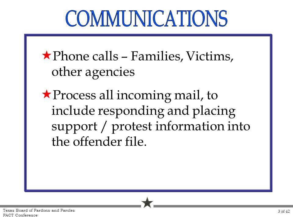 Phone calls – Families, Victims, other agencies Process all incoming mail, to include responding and placing support / protest information into the offender file.