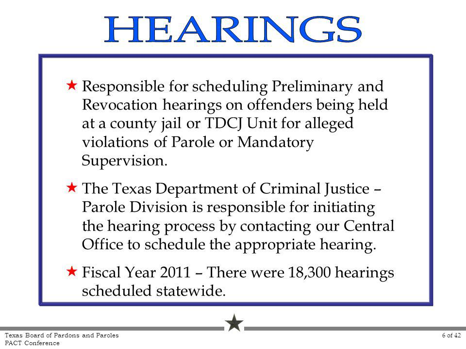 Responsible for scheduling Preliminary and Revocation hearings on offenders being held at a county jail or TDCJ Unit for alleged violations of Parole