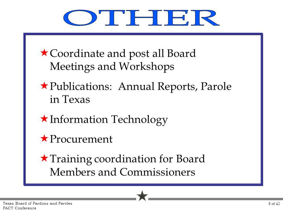 Coordinate and post all Board Meetings and Workshops Publications: Annual Reports, Parole in Texas Information Technology Procurement Training coordin