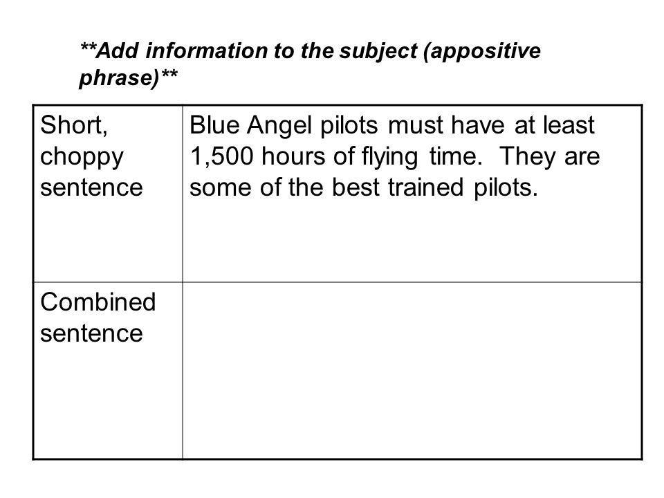 Short, choppy sentence Blue Angel pilots must have at least 1,500 hours of flying time.