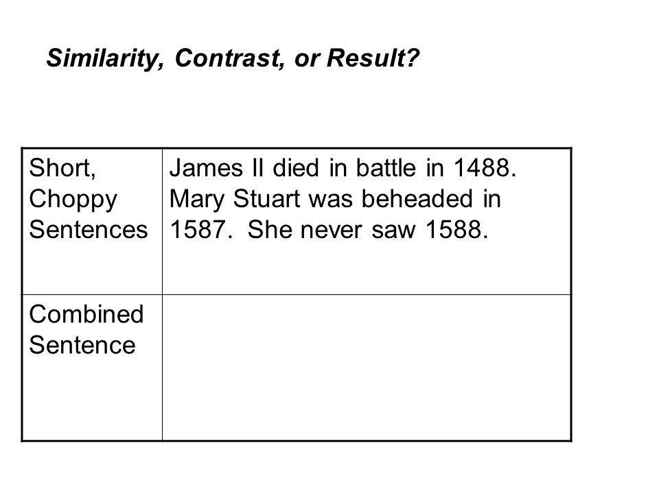 Short, Choppy Sentences James II died in battle in 1488.
