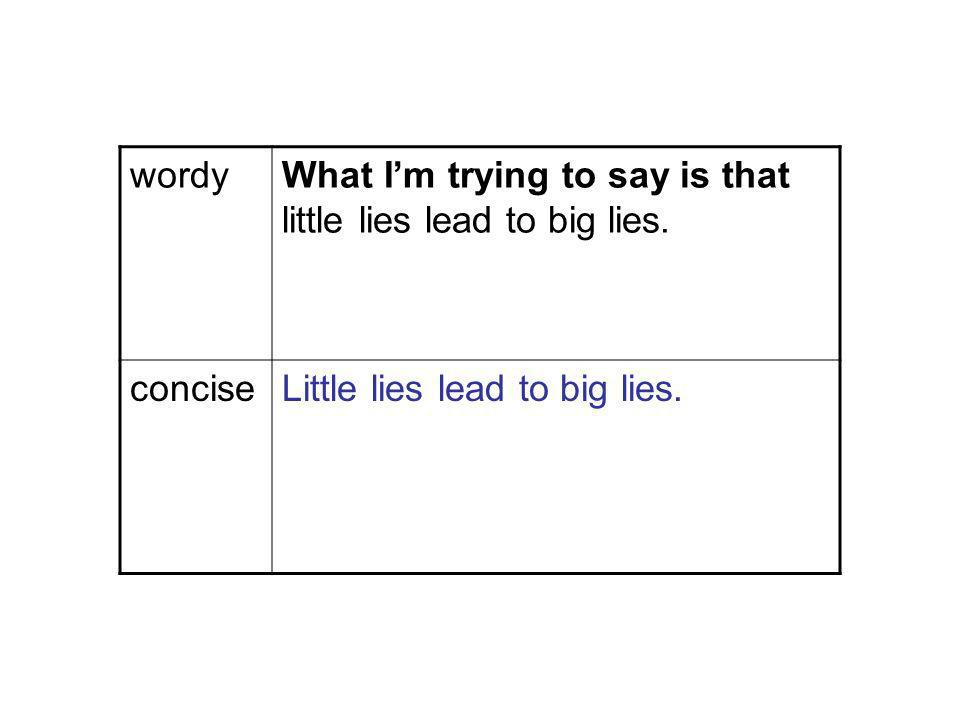 wordyWhat Im trying to say is that little lies lead to big lies.