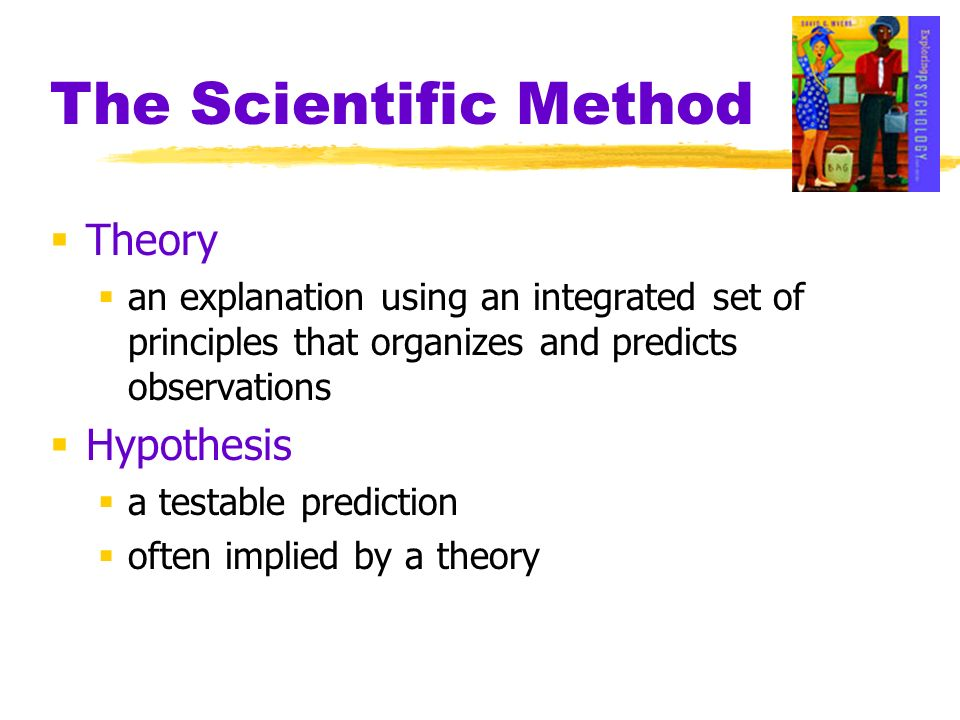 The Scientific Method Theory an explanation using an integrated set of principles that organizes and predicts observations Hypothesis a testable predi