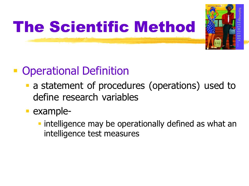 Operational Definition a statement of procedures (operations) used to define research variables example- intelligence may be operationally defined as