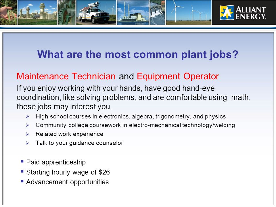 What are the most common plant jobs? Maintenance Technician and Equipment Operator If you enjoy working with your hands, have good hand-eye coordinati