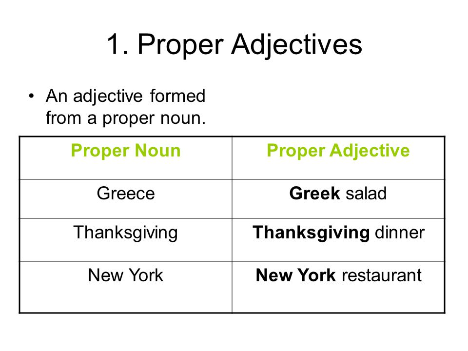1. Proper Adjectives An adjective formed from a proper noun. Proper NounProper Adjective GreeceGreek salad ThanksgivingThanksgiving dinner New YorkNew