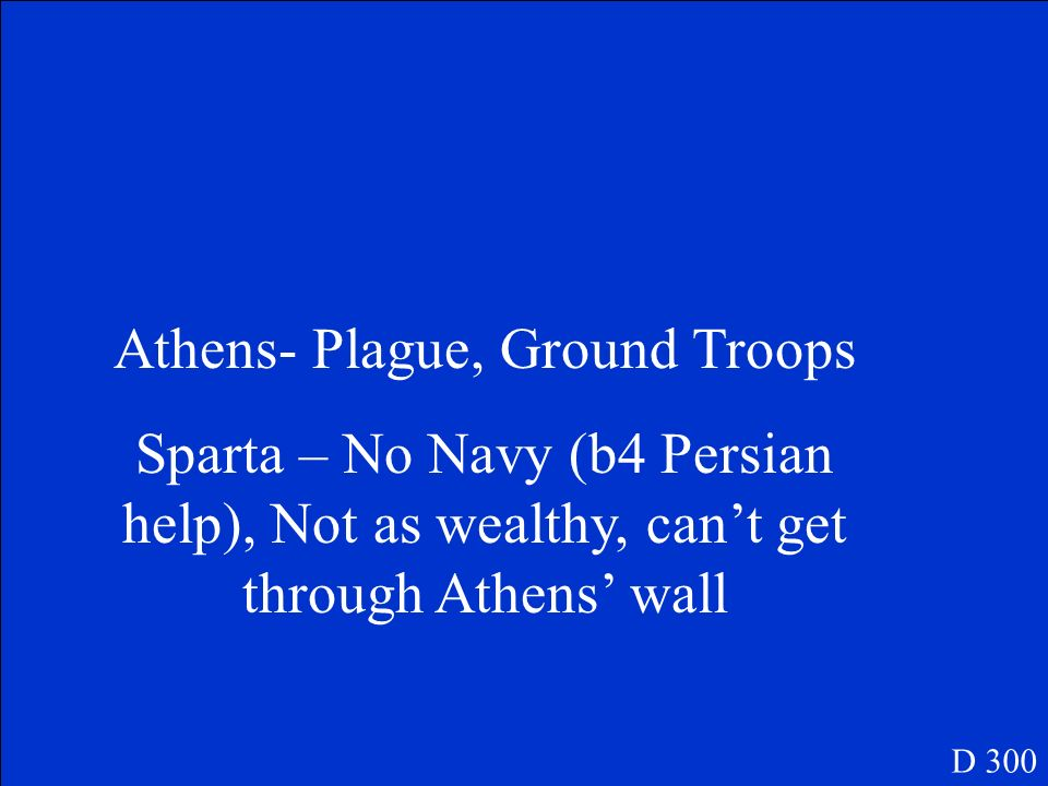 What are 2 weaknesses of Athens and Sparta in the Peloponnesian War? D 300