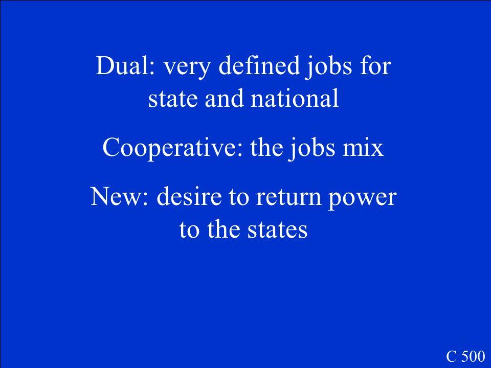 Distinguish between New, Dual, and Cooperative Federalism C 500