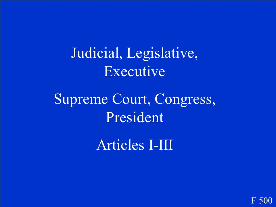 What are the 3 branches of government What positions make up the 3 branches What articles in the Constitution talk about the 3 branches? F 500