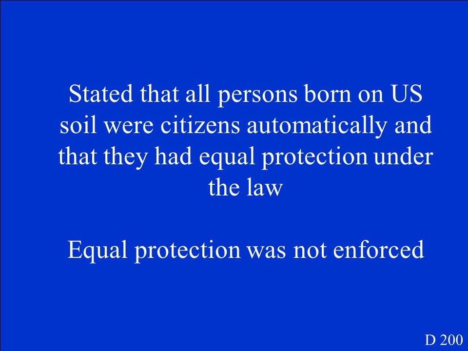 How did the 14 th amendment attempt and fail to achieve equality between the races D 200