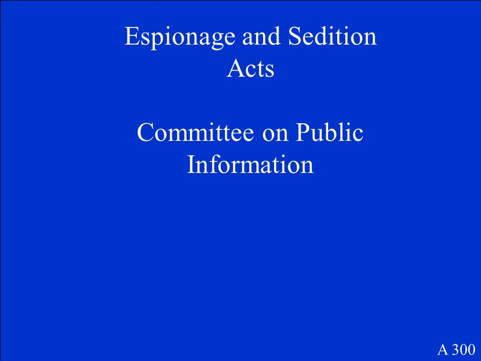 Espionage and Sedition Acts Committee on Public Information A 300
