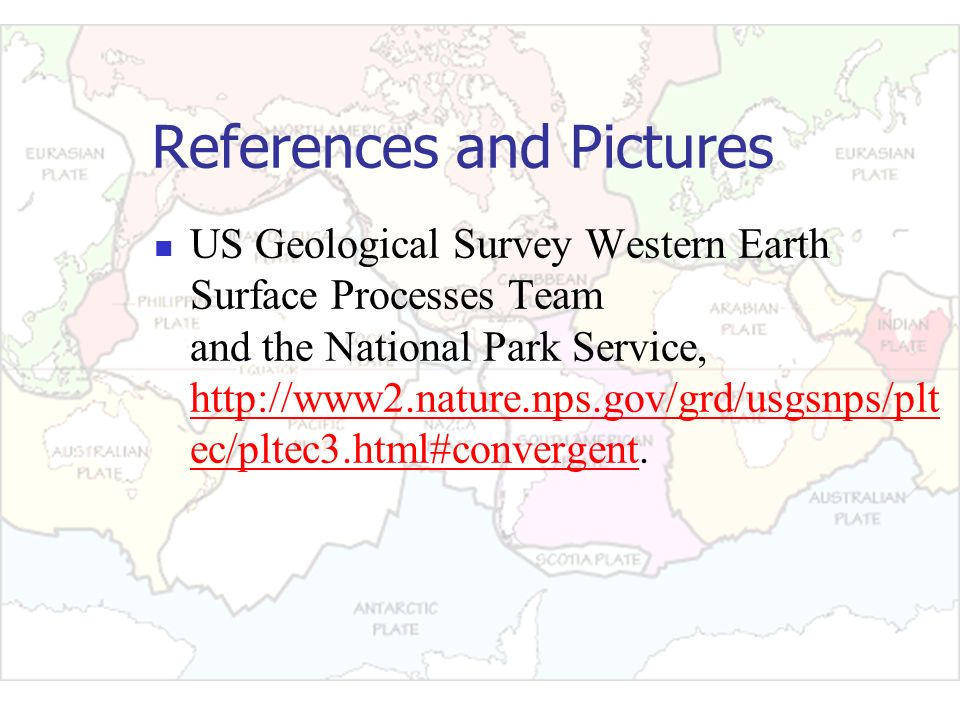 References and Pictures US Geological Survey Western Earth Surface Processes Team and the National Park Service, http://www2.nature.nps.gov/grd/usgsnp