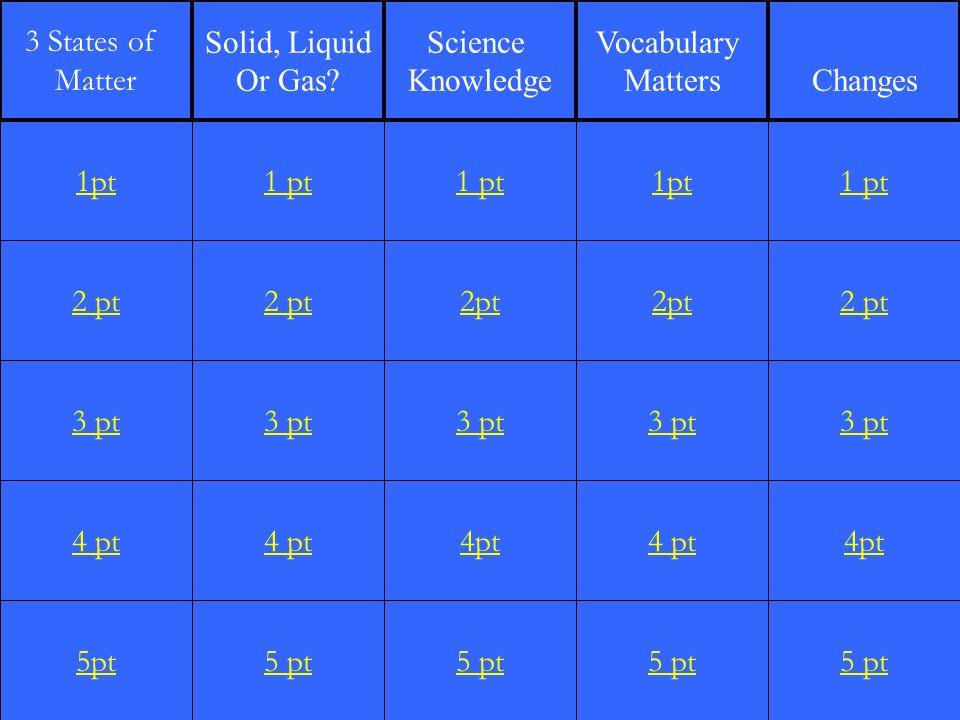 2 pt 3 pt 4 pt 5pt 1 pt 2 pt 3 pt 4 pt 5 pt 1 pt 2pt 3 pt 4pt 5 pt 1pt 2pt 3 pt 4 pt 5 pt 1 pt 2 pt 3 pt 4pt 5 pt 1pt 3 States of Matter Solid, Liquid