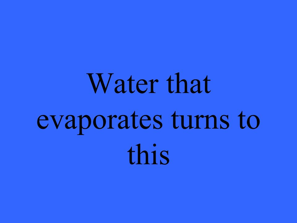 Water that evaporates turns to this