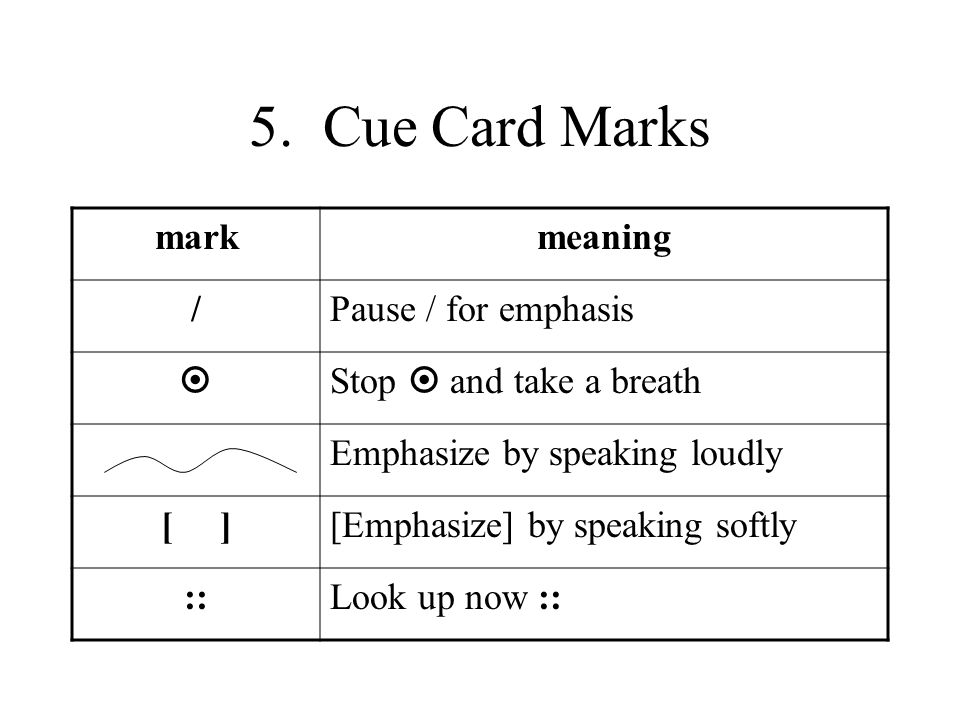 5. Cue Card Marks markmeaning /Pause / for emphasis Stop and take a breath Emphasize by speaking loudly [ ][Emphasize] by speaking softly ::Look up no