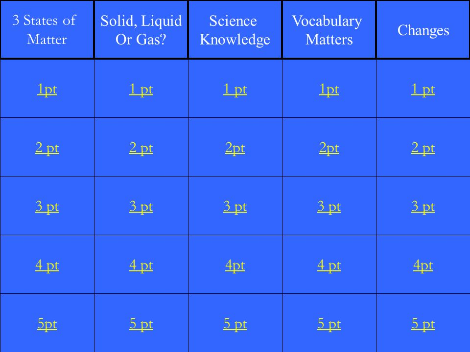 2 pt 3 pt 4 pt 5pt 1 pt 2 pt 3 pt 4 pt 5 pt 1 pt 2pt 3 pt 4pt 5 pt 1pt 2pt 3 pt 4 pt 5 pt 1 pt 2 pt 3 pt 4pt 5 pt 1pt 3 States of Matter Solid, Liquid Or Gas.