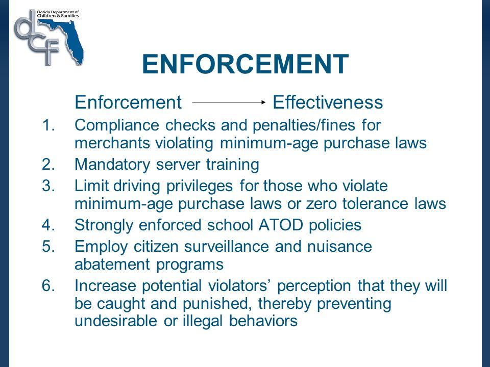 ENFORCEMENT Enforcement Effectiveness 1.Compliance checks and penalties/fines for merchants violating minimum-age purchase laws 2.Mandatory server tra