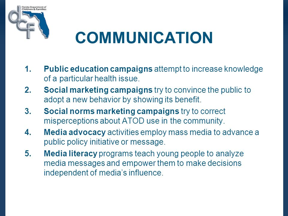 COMMUNICATION 1.Public education campaigns attempt to increase knowledge of a particular health issue.