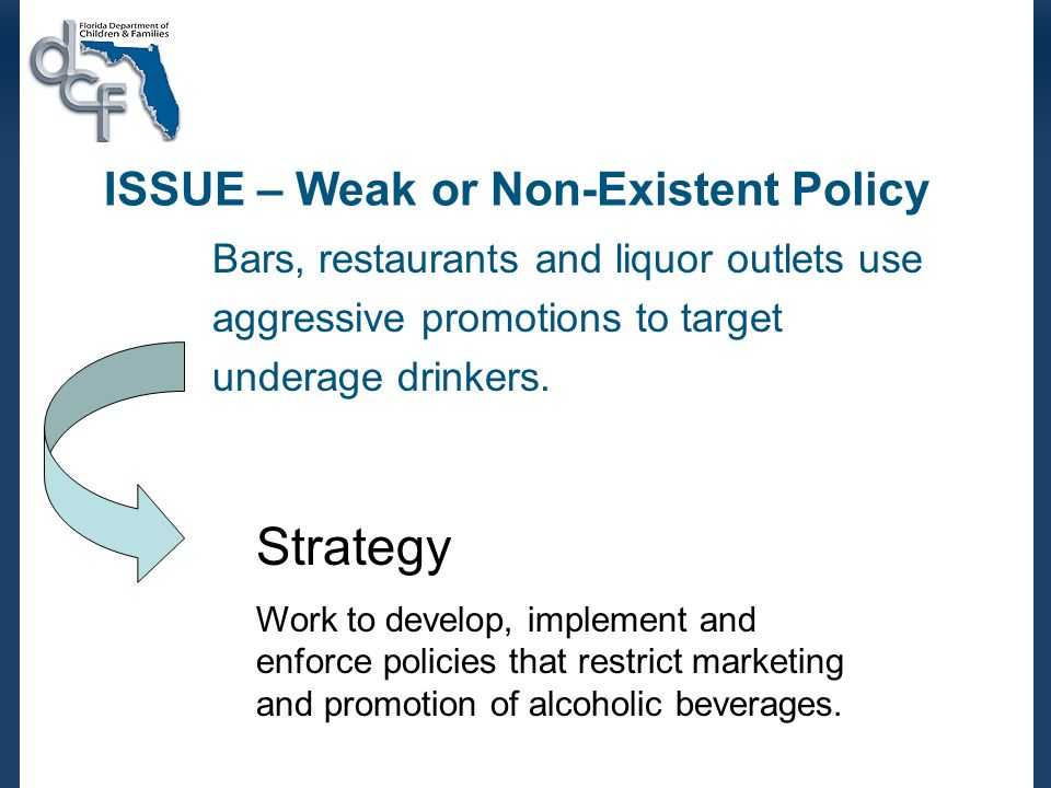 ISSUE – Weak or Non-Existent Policy Bars, restaurants and liquor outlets use aggressive promotions to target underage drinkers.